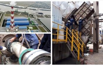 Bảo dưỡng quạt ly tâm nhà máy nhiệt điện.